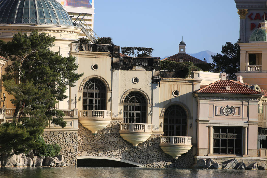 Damage to the Bellagio hotel-casino from Thursday night's fire on Friday,  April 14