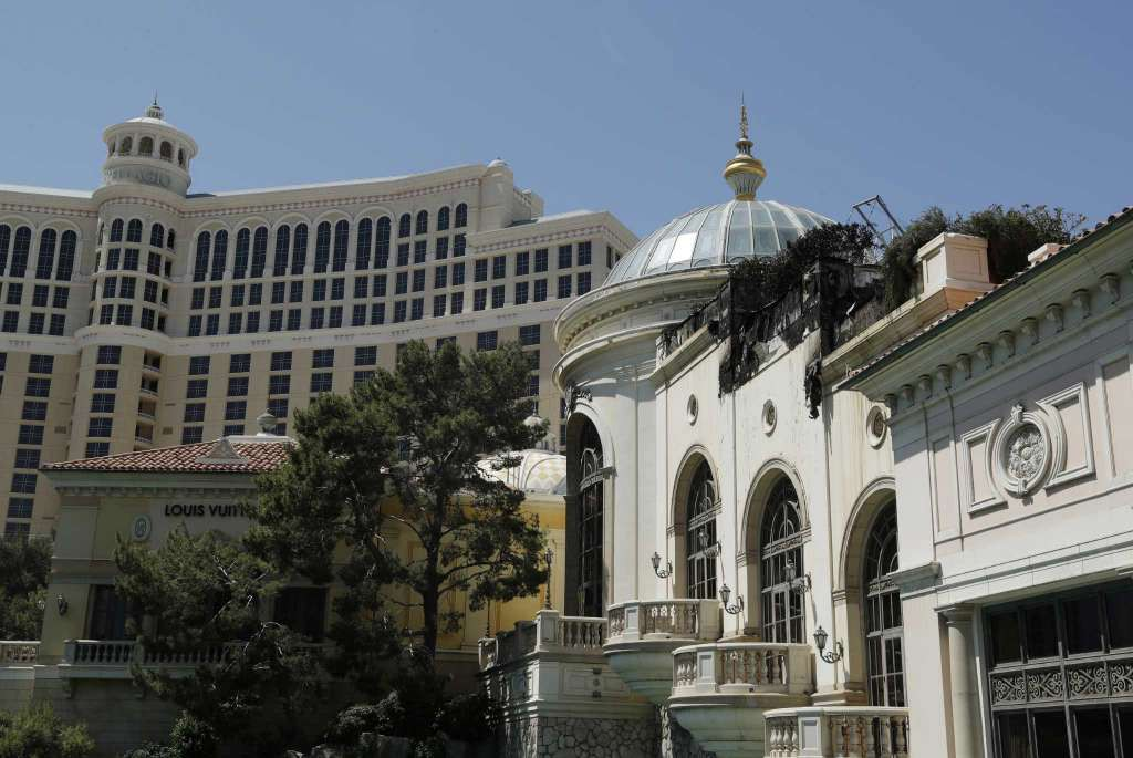 Fire damage is seen at the Bellagio casino and resort, Friday, April 14,